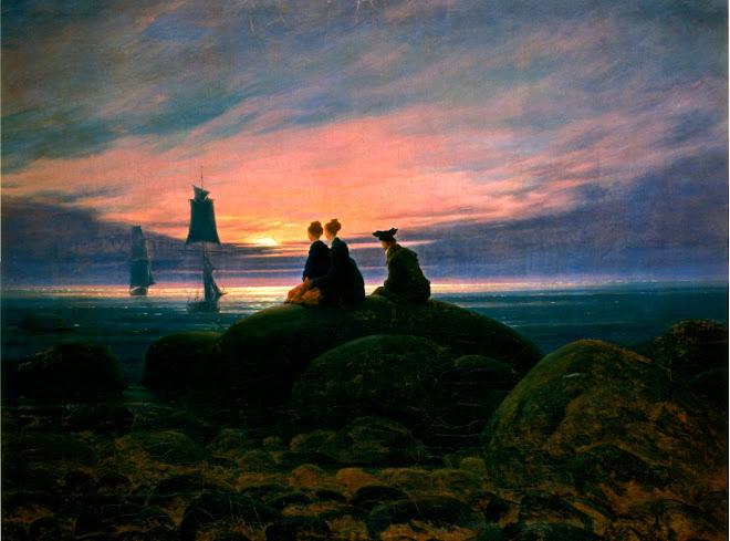 Pintura Moonrise+Over+the+Sea+(1822)+-+Caspar+David+Friedrich