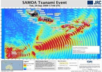 Mapa de alturas de ola del tsunami en la región afectada