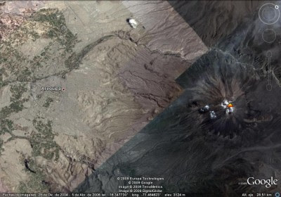Arequipa y El Misti. Google Earth.