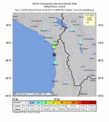 Mapa de intensidades del sismo en Tarapacá, Chile. USGS.