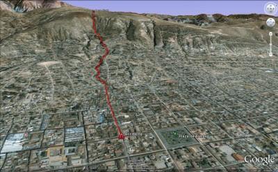 Curso principal de la inundación en Ayacucho (Huamanga), Perú. Fuente: Informe de Emergencia. INDECI