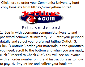 CU booklets: Order from a list (SA only)