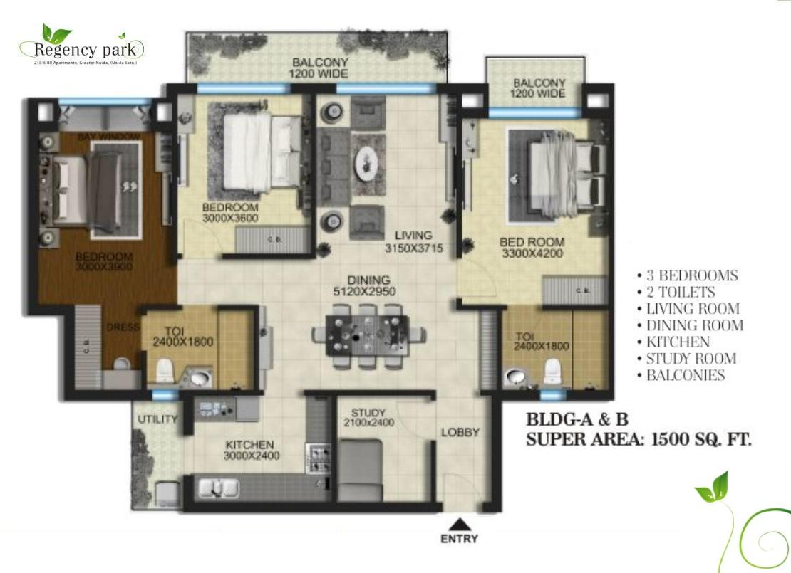 Aarcity regency park floor plan 1500 sq ft Sq ft