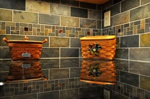Copper Slate Kitchen Backsplash. Golden Carmel granite countertop
