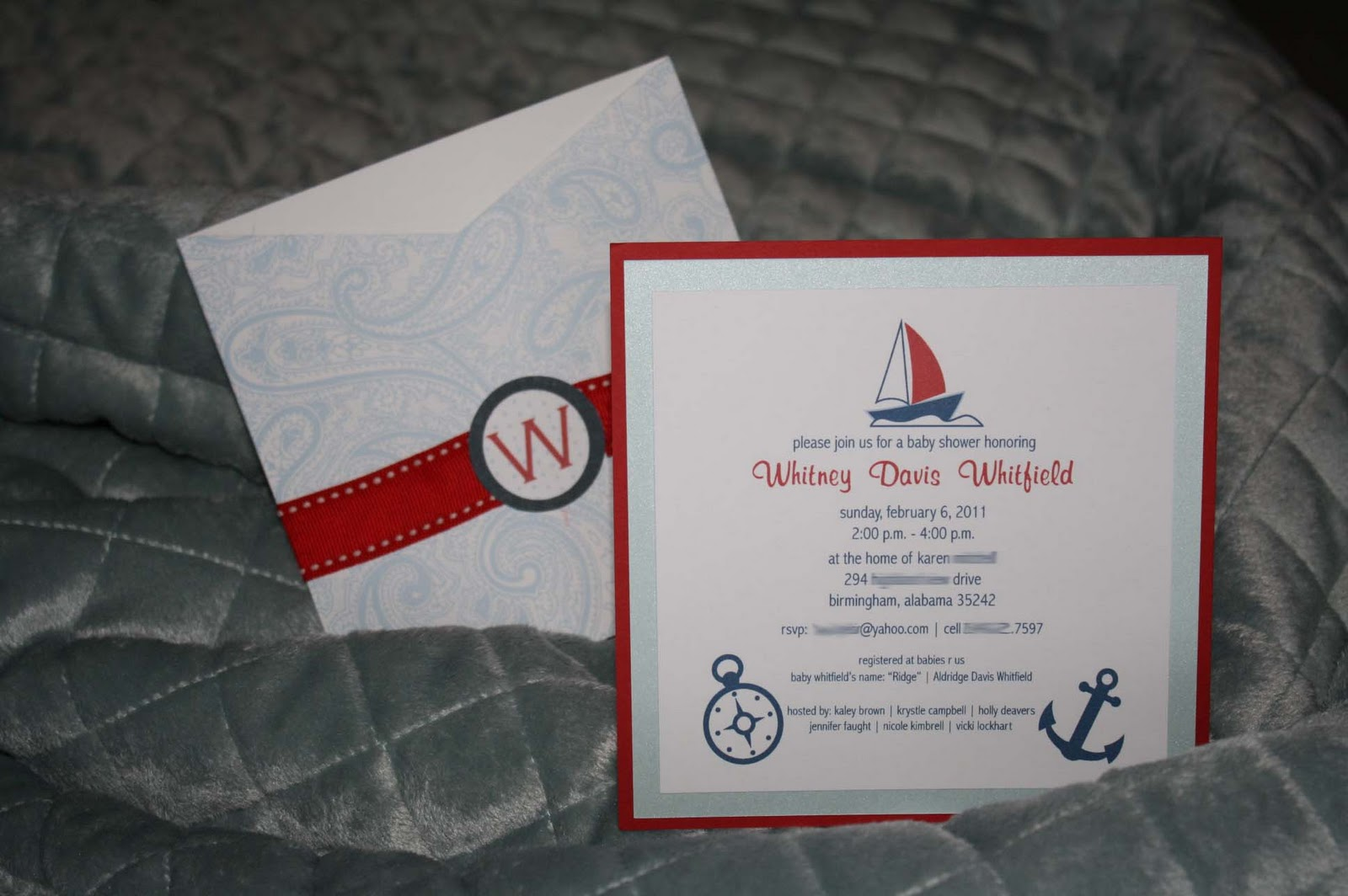 something detailed pocket baby shower invitation nautical theme
