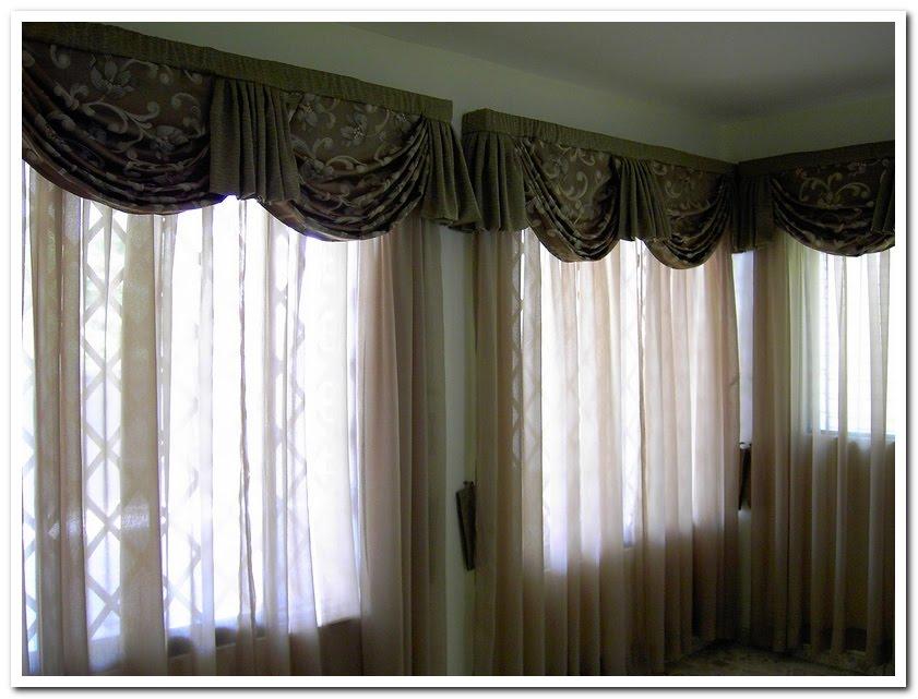 Cortinas de sala en visillo con cenefas de cascada en for Cenefas para cortinas