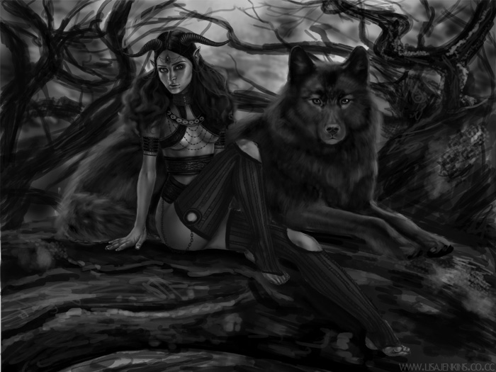Black Wolf Demon Demon girl+wolf bw