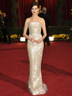 anne hathaway red carpet dresses. dress but says in dismay,
