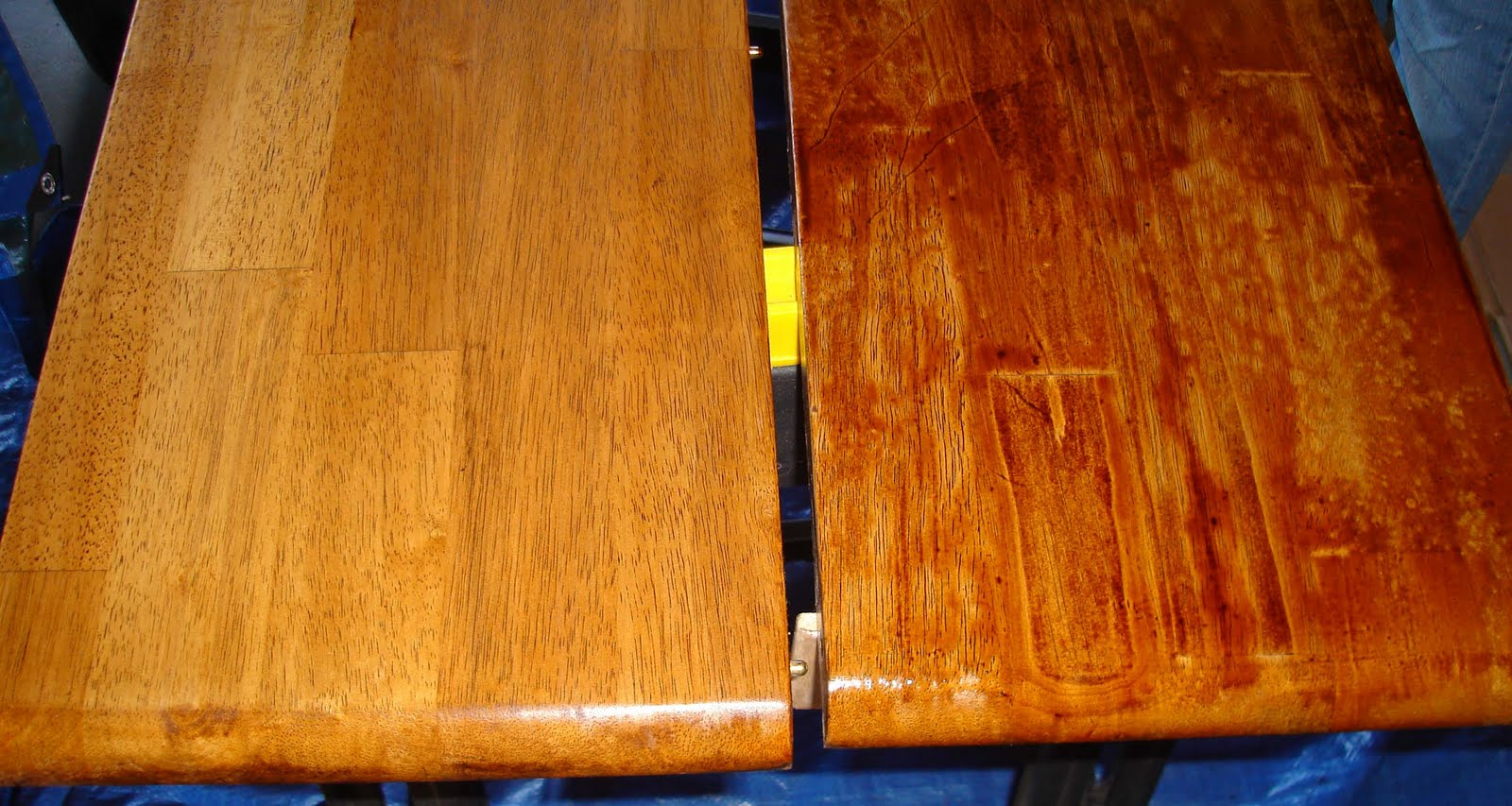 Can i stain over stain - After Two Coats Of Stain I Did Two Coats Of Oil Based Polyurethane Over The Top You Can See It Below Where The Tabletop Is Shiny