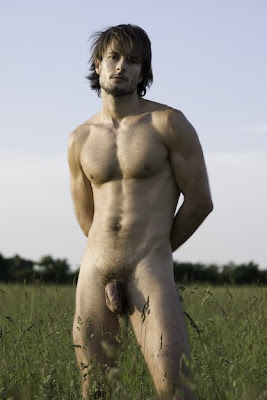 gorgeous man standing in the field naked and showing his dick gaydreamblog