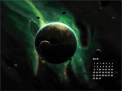 March 2009:Space|HD Calendar Wallpaper