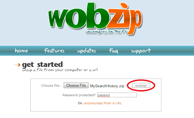 WobZip.Org Demo - My Search History