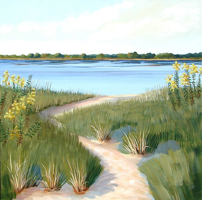 How To Paint Grass Leading On To Water And Sky