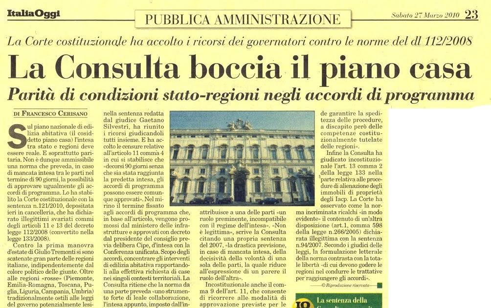 Tg roma talenti la corte costituzionale ha bocciato il for Piano casa di richmond