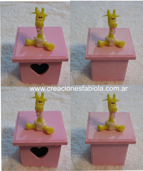 cajitas con aplicacion de jirafas bebe en porcelana fria
