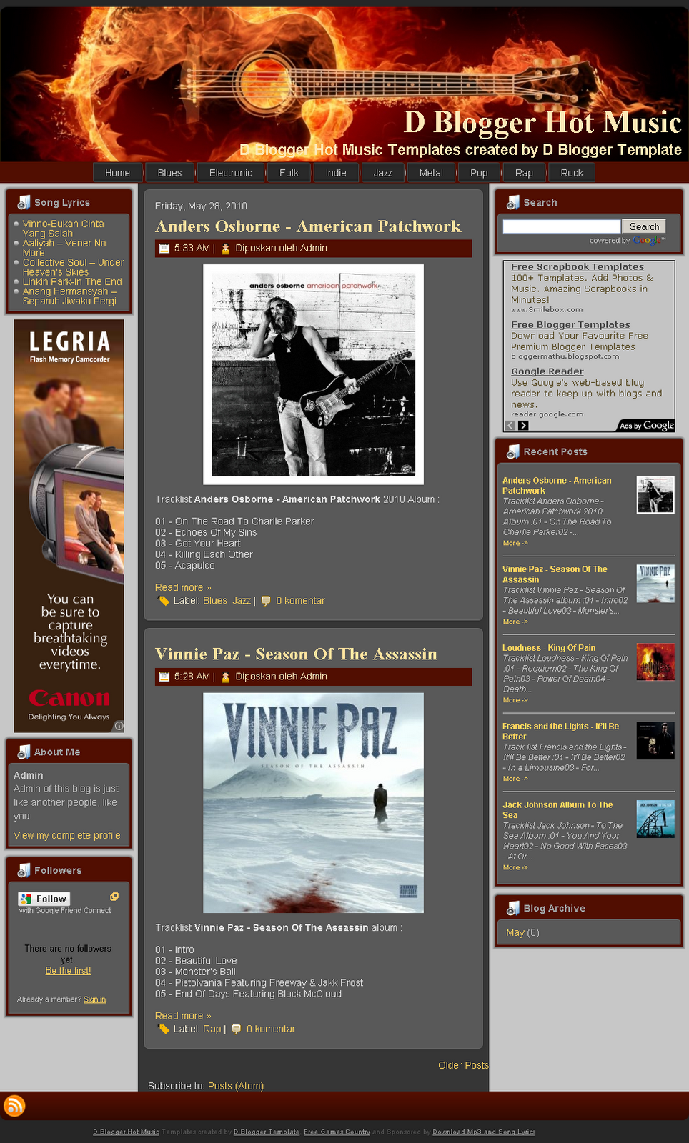 D Blogger Hot Music TemplatesFree Blogger Templates ,Premium Blogger ...
