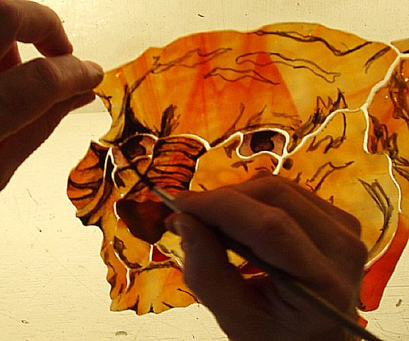 painting with light glass. When painting and firing on