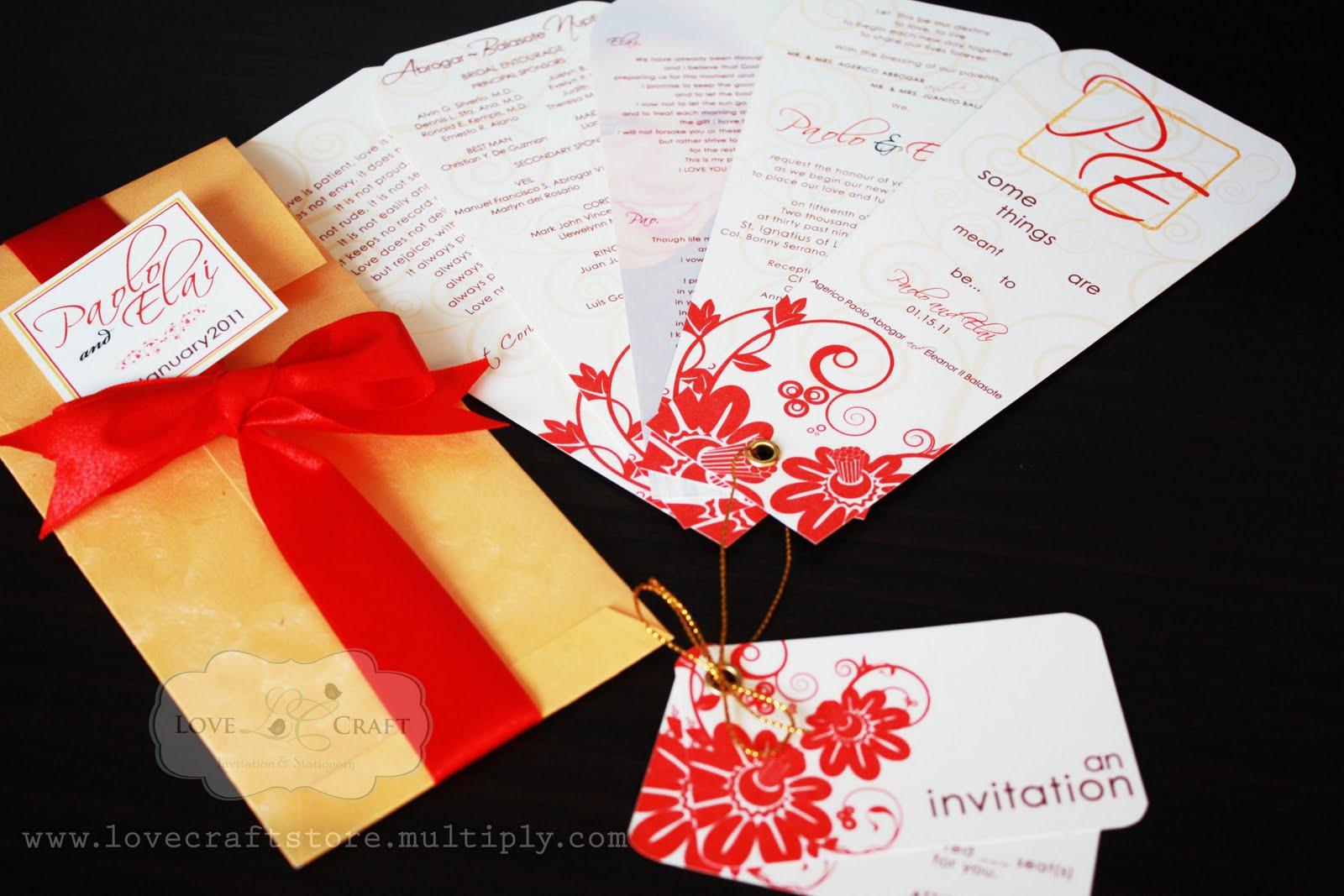 Love Talks: Gold & True Red fan style wedding invitation