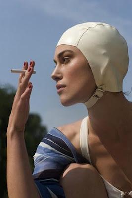 Keira Knightley as Cecilia Tallis in Atonement, swim cap