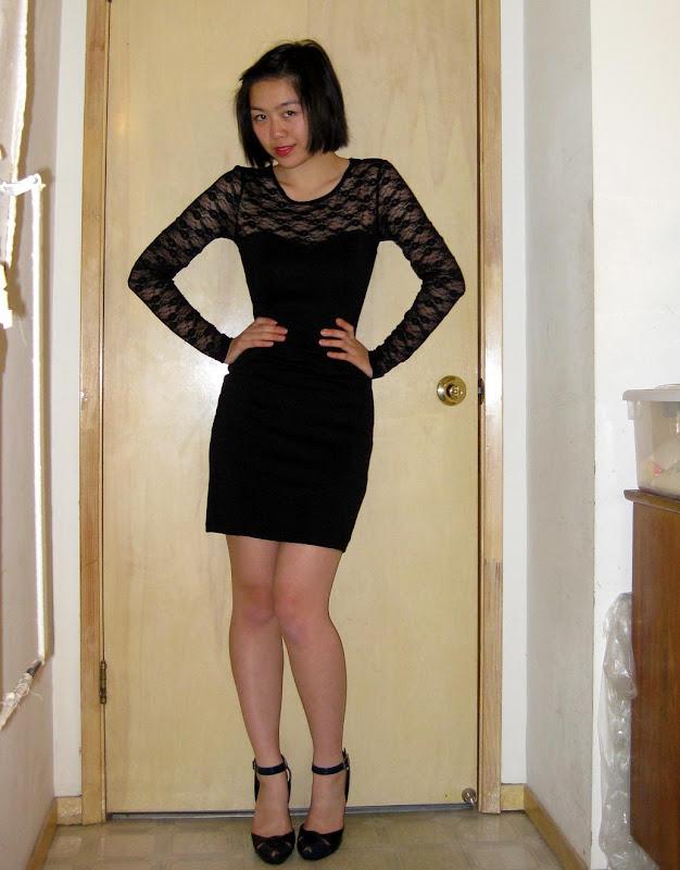 black lace H&M dress