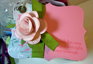 stampin up, flower punch, paper rose, gift tag