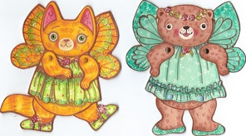 Cat and Bear Fairy Paper Doll