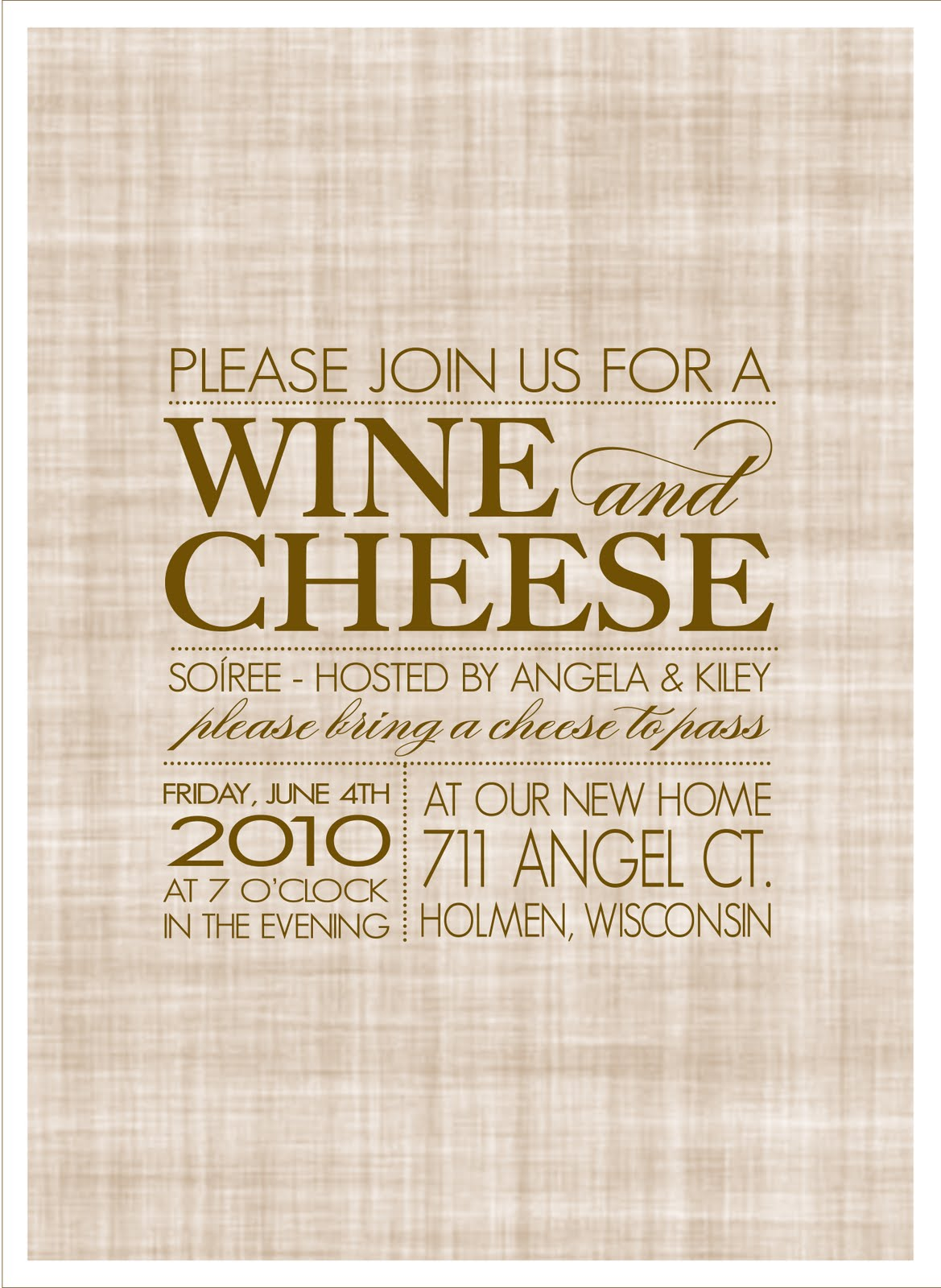 Wine + Cheese Soiree - House Warming Party - Saffron Avenue ...