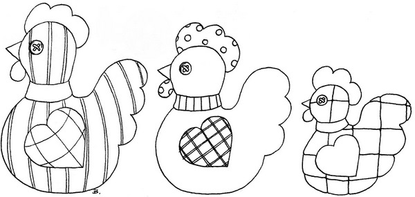 Three French Hens Coloring Page