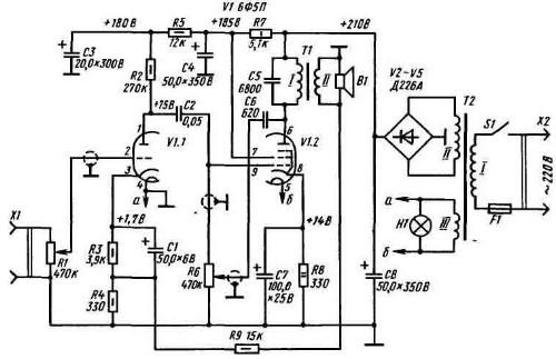 За основу была взята более чем классическая схема (смотрите выше) усилителя на лампе 6Ф5П , только вместо диодного...