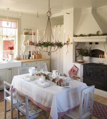 Strandviksvillan lantlig jul i vitt och r tt for Oggetti decorativi per cucina