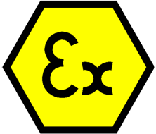 """Símbolo """"Ex"""" para identificação de equipamentos certificados para uso em atmosferas explosivas."""