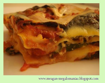 MEGalomaniac: Spinach and Roasted Red Bell Pepper Lasagna