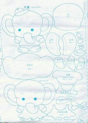 molde elefante feltro
