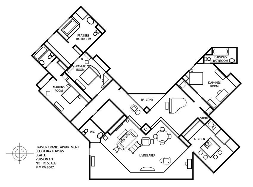 frasier afficionado floor plan of frasier s condo artists and apartments on pinterest