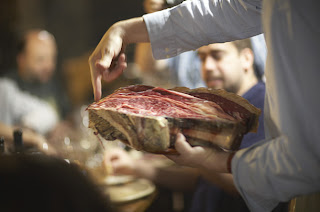 Dry-aged slab of steak