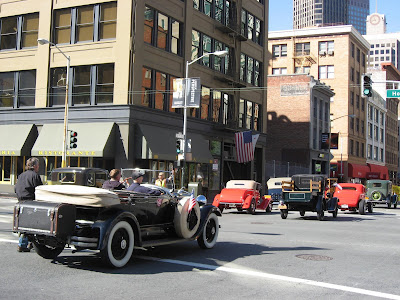 Old Cars in procession at SFO