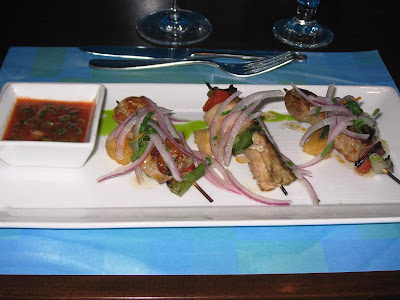 Skewers of Peruvian chicken breasts at La Mar