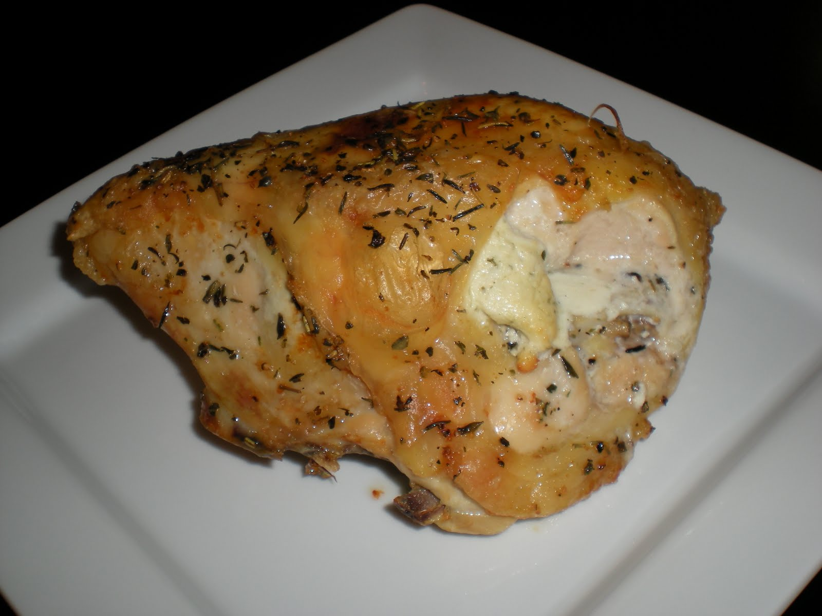 Spare Thyme Roasted Chicken Breast With Goat Cheese And Basil