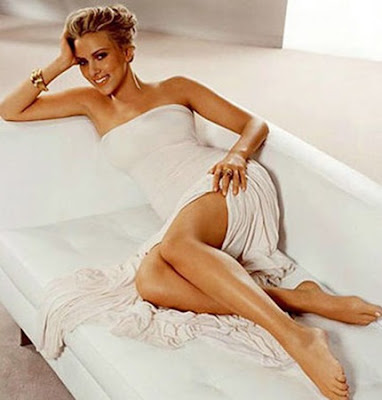 Scarlett Johansson lying on a couch picture