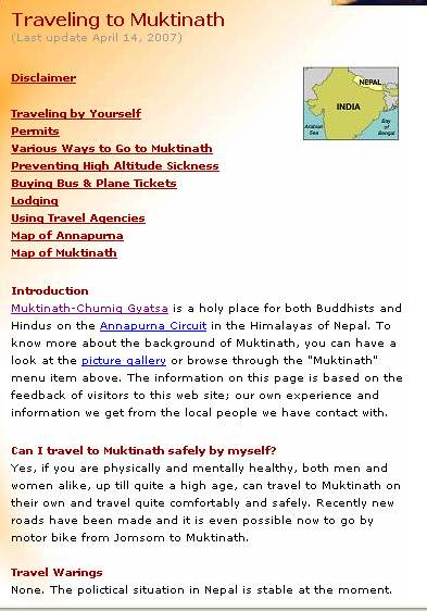 Travel Info Page Of Muktinath
