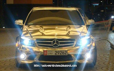 gold mercedes @ auto show
