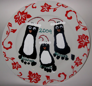 foot print penguin keepsake plates