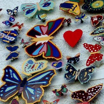 Mandens sommerfugle-bryst og hjerte
