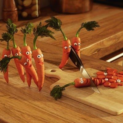 Glade hakkede gulerødder i selvmordspagt
