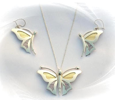 Yellow and Purple Sterling Silver Butterfly Earrings and Pendant Set