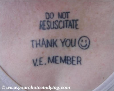 'Do Not Resuscitate' tattoo on Mary Walsh
