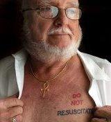 Albert Cutter with 'Do Not Resuscitate' tattoo