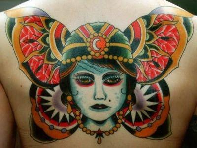 Back tattoo butterfly, Steve Byrne