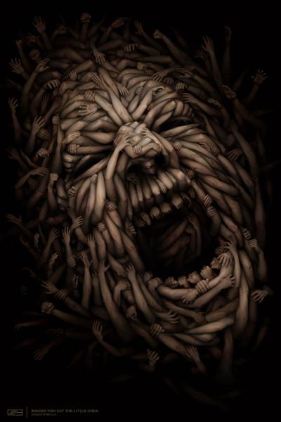 Vredt ansigt formet af arme
