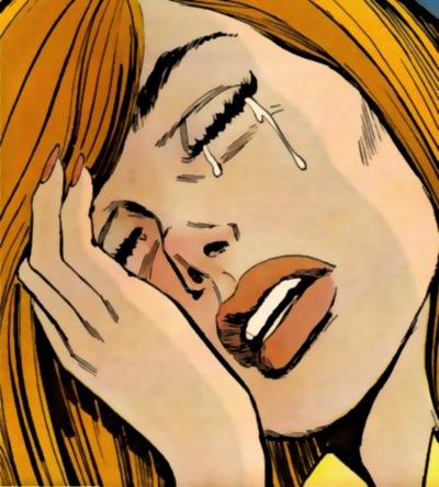 Grædende pige, i tegneserie-stil